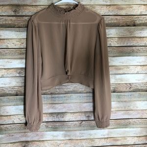 Honey Punch Smoked Neck Front Knot Top